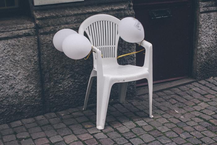White balloons in Gothenburg