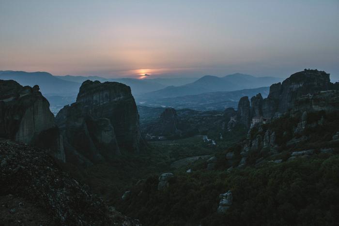 Meteora at sunset