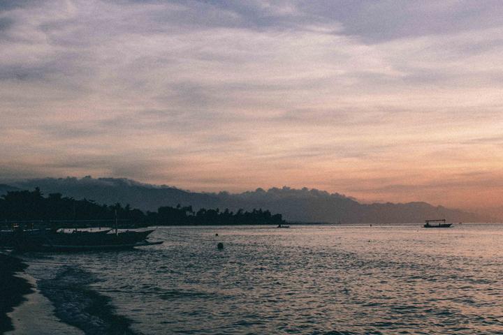 Lovina beach at sunset, Bali