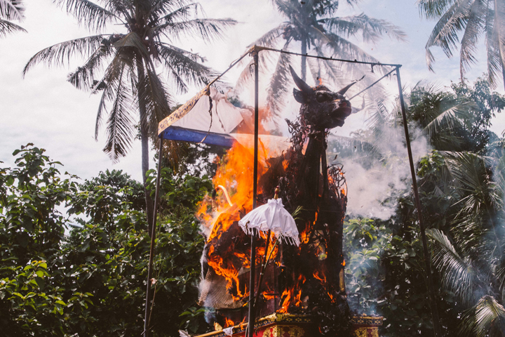 Burning creamation cow, Bali
